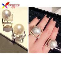 2014 Fashionable style Punk gold silver Geometric Cube Big faux Pearl Designer finger ring for women bagues ensemble bijoux