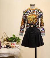 H&Q 2014 new runway summer fashion vintage OL ladies tiger pattern print tops+ skirt twinset clothing set skirt suits S,M,L