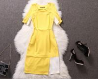 Famous brand dress 2014 women summer dress silk knee length yellow elegant dress polka work wear suit,vestidos compridos casual