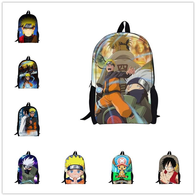Hot Sale 3D Cartoon School Backpacks for Kids,Cool Boys Anime NARUTO Backpack Bag,ONE PIECE Men's Backpack Uzumaki Naruto Bag(China (Mainland))