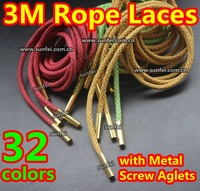 (32 colors) 3M Reflective Rope Laces w/Cylinder Screw Aglet~100pair/lot~Metal Aglets 3M Rope Laces~Yeezy Laces~DHL FREE SHIPPING