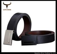 2014 good quality men cowskin genuine leather belts for men,cintos metal plate buckle strap male business for belt