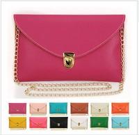 2014 Hot selling vintage bag chain envelope bag women's handbag day clutch candy color messenger bag 14 Colors Free Shipping