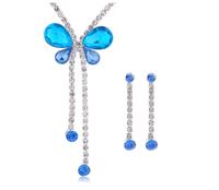 2 Colors Women Zinc Alloy Acrylic Blue Rhinestone Wedding Butterfly Pendant Necklace Earrings Prom Jewelry Set Sets B36017