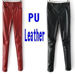 Leather Pants 2014 Fall Winter Women Pants Fashion PU Thicken Fleece Warm Capris Trousers leather joggers calca feminina 3017(China (Mainland))