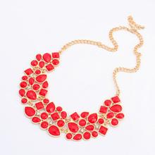 Fashion rhinestone Necklace vintage colorful splicing gem choker bib necklace women jewelry wholesale 2014 Free Shipping