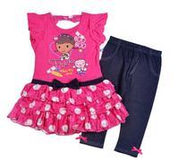 children Girls Doc McStuffins set summer clothing sets (tshirt+skirt)suit  new 2014 children cartoon set