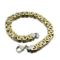 stainless steel bracelets & bangles for men   fashion chunky box chain bracelet silver & gold color BR-066