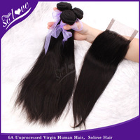 Solove  Hair Products 6A Unprocessed Mongolian virgin solove hair straight 3pcs with one lace closure Free Shipping