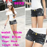 2014 new women high waisted shorts jeans saia feminino hole sexy jeans shorts women fashion denim shorts high waist short saias