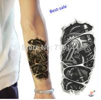 New Arrival Temporary tattoos 3D black mechanical arm fake transfer tattoo stickers sexy men spray waterproof designs 1set/lot