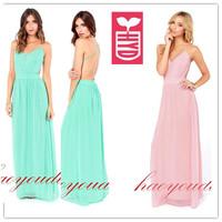Export brand 2014 High quality chiffon spaghetti strap Evening floor-length dress Womens elegant Maxi backless long dress