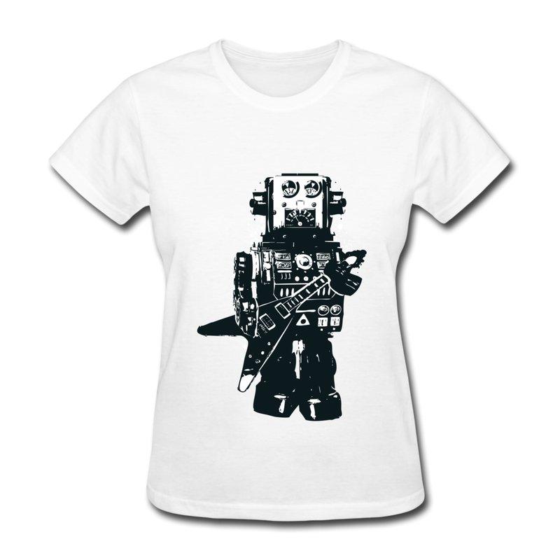 2014 Fashion Short Sleeve Womens T-Shirt Robot Rocks Design Womens T Shirts(China (Mainland))