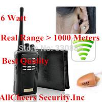 2014 powerful 6 watt Real 1000metes radio mini invisible 305  Earpiece Walkie Talkie Wallet Hidden Wireless Radio Box