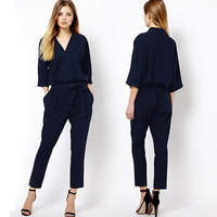 Hot Sales! New 2014 Fashion Women Elegant Chiffon Siamese Trousers Straight Long Pants Jumpsuits, Black, Dark Blue, S, M, L, XL