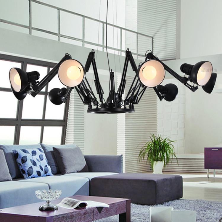 moda moderna luce del pendente breve di ferro personalizzati retrattile ragno art deco lampade