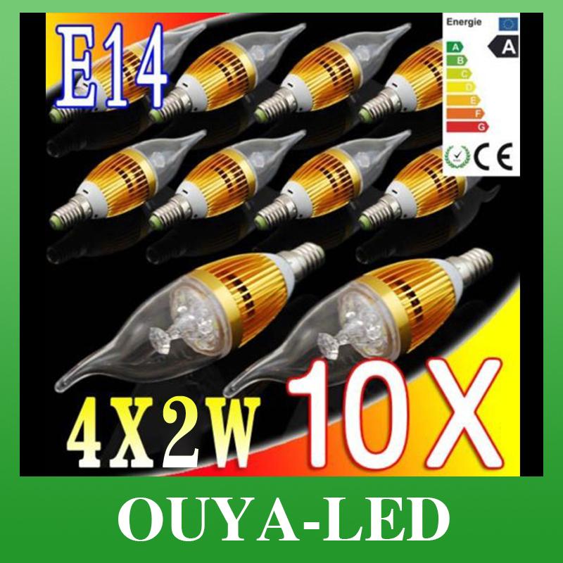 10pcs/Lot E27 8W 85-265V White/Warm White Candle LED Light Crystal Lamp Free Shipping(China (Mainland))