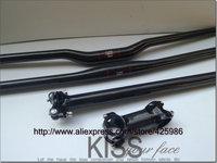 Fast shipping! MTB bike bicycle carbon fibre handlebar+ seatpost+ Stem =1 lot bicycle parts 3k gloss finish