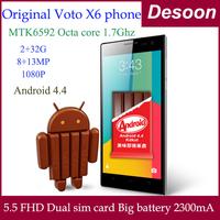 Free Shipping Voto x6 MTK6592 Octa Core 1.7Ghz 2G RAM 32G ROM 5.5'' Ips Ultra Slim Android 4.4 3G WCDMA GPS/ Koccis