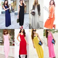 Womens Boho Beach Long Maxi Dress Ladies Sleeveless Long Cotton Vest Sundress Freeshipping