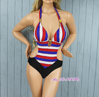 Sexy New cute red&blue&white stripe One Piece MONOKINI SWIMSUIT SWIMWEAR size M L XL  Free shipping shipping within 24hours