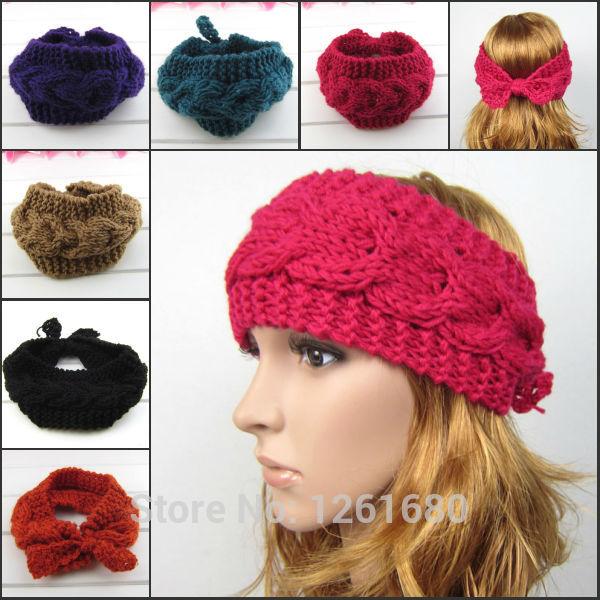 2015 New bow knitted head wrap women crochet flowers headwear warmer headband twist turban hair accessories Free shipping(China (Mainland))