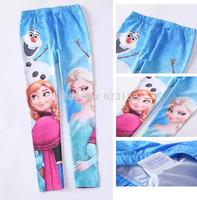 1PC Retail Frozen Leggings Children Girl's Frozen Pants Long Pants Kids Summer Clothing 95% Cotton Elsa & Anna Girl Legging
