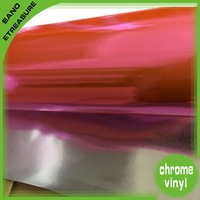 High Quality Beautiful 1.52X20M Pink Stretchable Chrome Vinyl (3 layers) without air drain