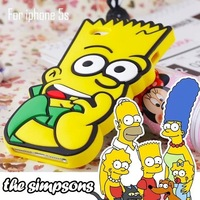 The Simpsons Cases for iphone 5 5S for iphone 4 4S 3D Cute Cartoon Phone Back Case Cover Skin Silicon Free Shipping 1 PCS/Lot