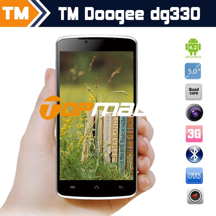 Original doogee330 dg330 5.0 ips pulgadas pantalla x 2592 1944 los teléfonos celulares de núcleo cuádruple mtk6582 ram 4gb android 4.2.9 1800 82023852 mah