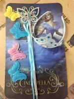 Children Girls Tiara Princess Magic Wand + Rhinestone Crown + HairBand + Hairpiece Girls Wig Children Party Accessories Ornament