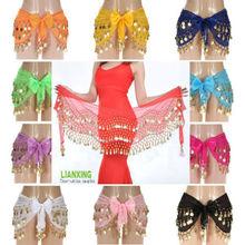 Señora Women 3 filas de Danza del Vientre Hip bufanda de la falda del abrigo de correa de cadena con tono Monedas granos al por mayor el envío libre adulto(China (Mainland))