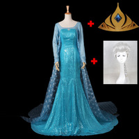 Custom Frozen Cosplay Elsa Princess Cosplay Costume Set Snow Queen Dress Outfit Movie Elsa Cosplay For Adults Include Wigs Crown