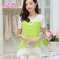Fashion women solid cotton chiffon vestidos shirt size S--XXL