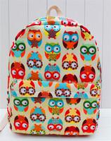 girls owl backpacks New 2015 printing bagpack children Mochilas women girl cartoon schoolbag brand shoulder bags canvas rucksack