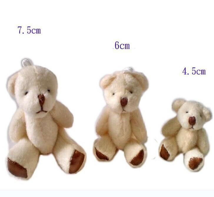 Free Shipping 40 Pcs / lot 6 cm Mini Teddy Bear Soft Joint Stuffed Bear Wedding Decoration Doll Cartoon Toy Can Sit Plush Bear(China (Mainland))