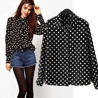SZ051 2014 New Fashion Womens Long Sleeve Winter Autumn Blouse,White Polka Dot Black Bottom Print Womens Shirts Tops Blusas S&Z