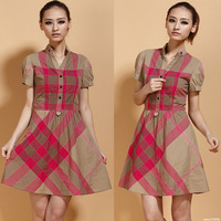 2014 summer women dresses short-sleeve one-piece dress women's casual o-neck summer British style dress