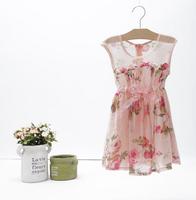 2014 New summer,girls princess dress,children floral vest dress,bow,pink,1-8 yrs,6 pcs / lot,wholesale,1451