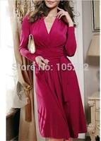 New 2014 Summer Women's Fashion Strap V-neck Expansion Bottom One-piece Dress Wine red Plus Size Elegant Princess Full dresses