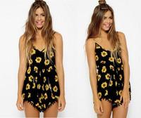 2014 New Fashion Hot Style Tassel  Strip  Floral Print Jumpsuit Ladies Romper Free Shipping #J019