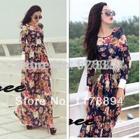 Free Shipping New Bohemian 2014 Long Sleeve Flower Print Woman Long Dress Empire Casual Straight Floor Length Dress t164
