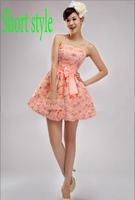 Plus size short formal dresses XXXXL evening dress 2015 new arrival lace flower short design fish tail party dresses gown