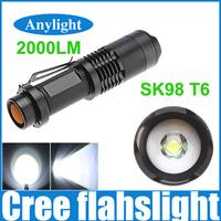 CREE XML t6 2000 Lumens lantern 5 Modes Adjustable led flashlight Torch Light suited 18650 battery WLF58