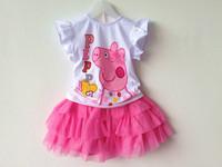 Retail 2014 Children Clothing Girls Tutu Summer Girl's Peppa Pig Set T-shirt & Yarn Skirt Short Sleeve & Sleeveless Style