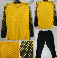 A+++ Soccer Top Men Goalkeeper Sponge Protector Suit Camisetas De Futbol Jersey GoalUniforms Pant 2014World Cup Goalkeeper Suit