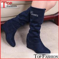 2014 New Autumn Winter Fashion Sexy Flock Women half boots Platform Wedges Round toe Women boots Black brown Size 34-39 Warm Hot