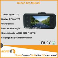 Sunco Golden car DVR Camera 1080p GS 2000 3M CMOS 2.7 inch LCD screen 32G SD card CAR Record