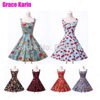 Grace Karin Women Cotton Short 50s Vintage Print  Jive Rockabilly Swing Prom Party Dresses 2014 New CL6092