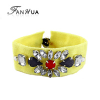 Yellow Hotpink Blue Color Clear Rhinestone Braid Bracelet and Bangles New 2014 Summer Designer Bijoux for Women